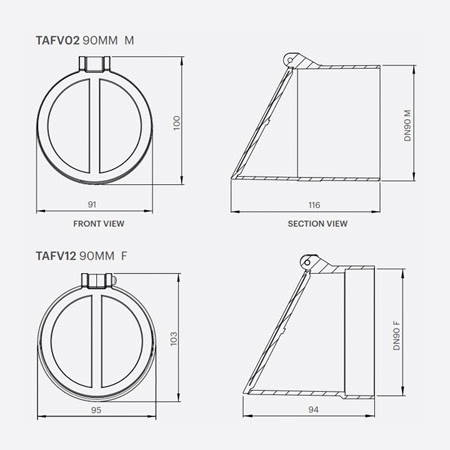90mm Frog Flap Valve Dimensions