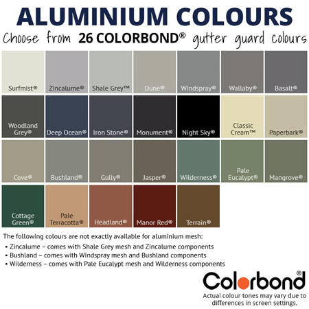 Aluminium Gutter Mesh Colours