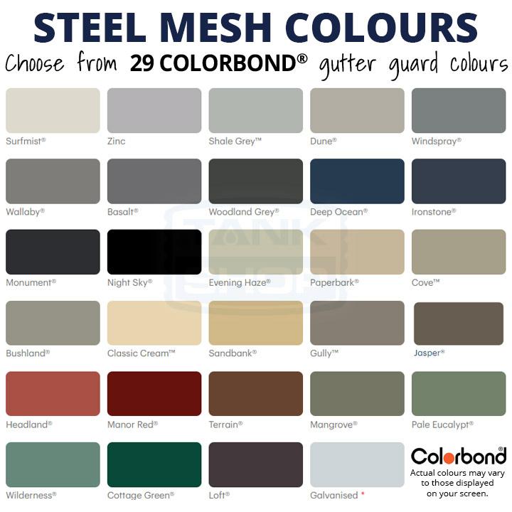 Steel Gutter Mesh Colours