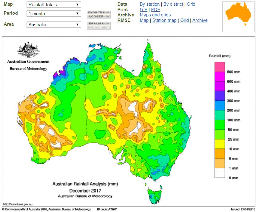 Monthly Rainfall Australia