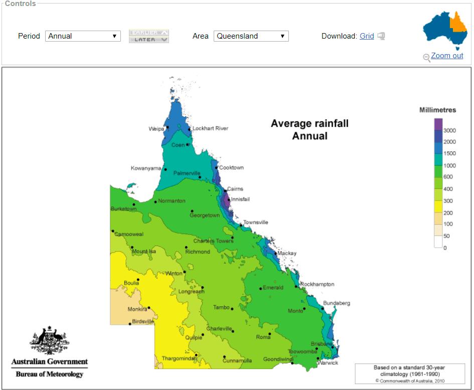 Annual Rainfall Queensland