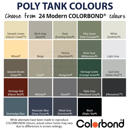 Poly Tank Colours Available