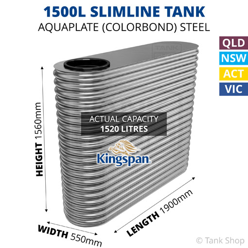 1500L Slimline AQUAPLATE Steel Tank (Kingspan)