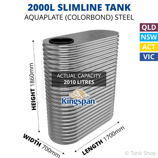 2000L Slimline AQUAPLATE Steel Tank (Kingspan)