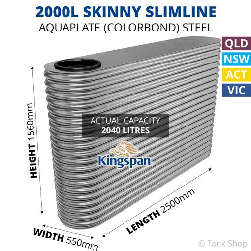 "2000L ""Skinny"" Slimline AQUAPLATE Steel Tank (Kingspan)"