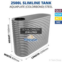 2500L Skinny Slimline Aquaplate Steel Tank