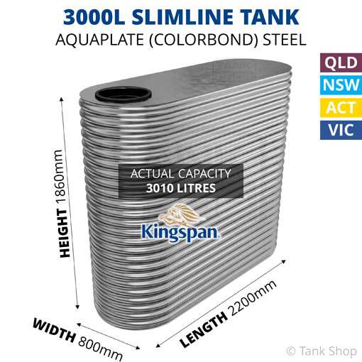 3000L Slimline AQUAPLATE Steel Tank (Kingspan)