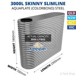 "3000L ""Skinny"" Slimline AQUAPLATE Steel Tank (Kingspan)"