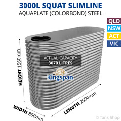 "3000L ""Squat"" Slimline AQUAPLATE Steel Tank (Kingspan)"