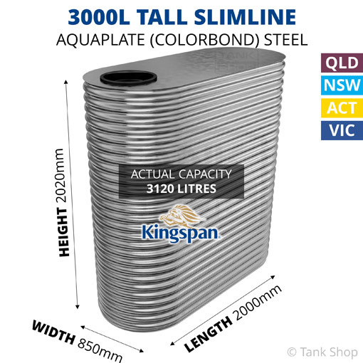 "3000L ""Tall"" Slimline AQUAPLATE Steel Tank (Kingspan)"