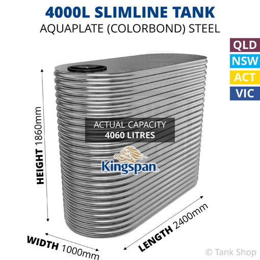 4000L Slimline AQUAPLATE Steel Tank (Kingspan)
