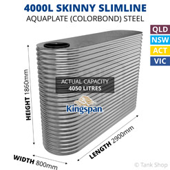 "4000L ""Skinny"" Slimline AQUAPLATE Steel Tank (Kingspan)"