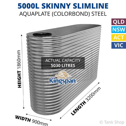 "5000L ""Skinny"" Slimline AQUAPLATE Steel Tank (Kingspan)"