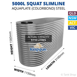 "5000L ""Squat"" Slimline AQUAPLATE Steel Tank (Kingspan)"