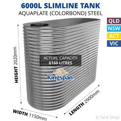 6000L Slimline AQUAPLATE Steel Tank (Kingspan)
