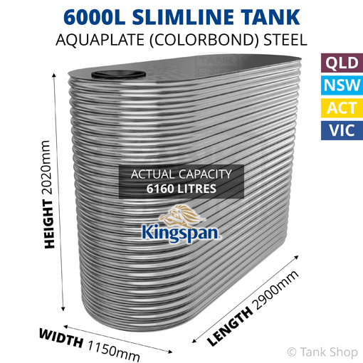6000L Slimline AQUAPLATE Steel Tank (Kingspan)