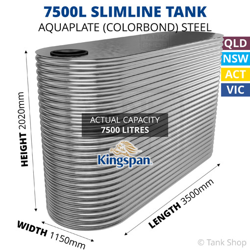 7500L Slimline AQUAPLATE Steel Tank (Kingspan)