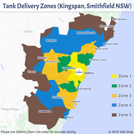 Tank Delivery Zones - Kingspan, Smithfield NSW