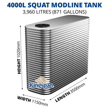 """4000L """"Squat"""" Modline Aquaplate Steel Tank"""