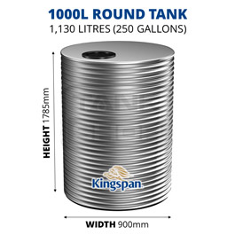1000L Round Aquaplate Steel Tank (Kingspan)