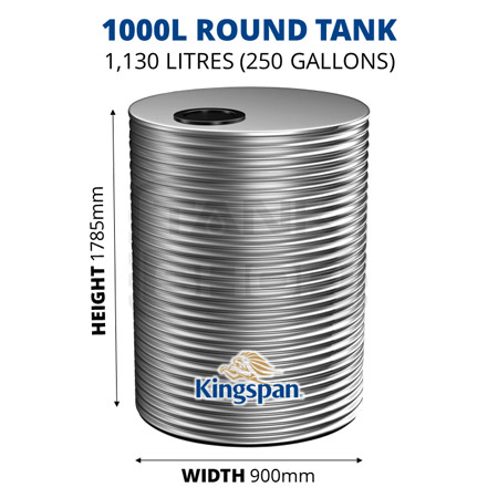 1000L Round Aquaplate Steel Tank (Kingspan)
