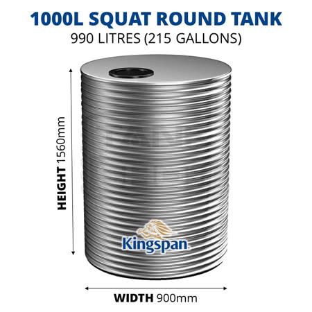 1000L Squat Round Aquaplate Steel Tank (Kingspan)