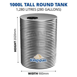 1000L Tall Round Aquaplate Steel Tank (Kingspan)