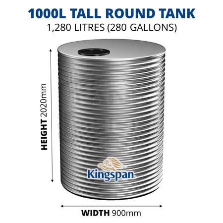 1000L Tall Round Aquaplate Steel Tank (Kingspan)