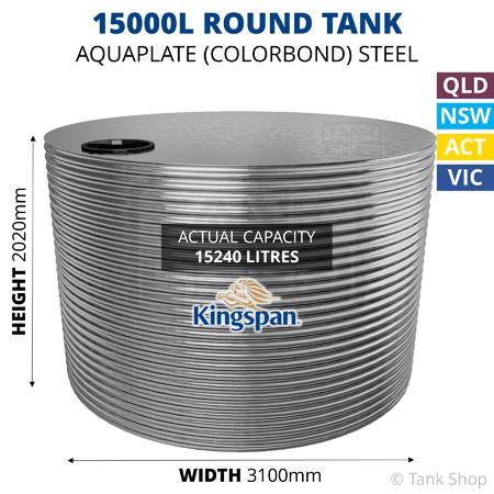 15000L Round Aquaplate Steel Tank (Kingspan)