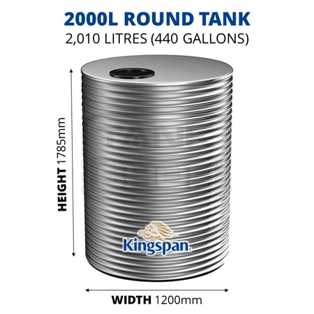 2000L Round Aquaplate Steel Tank (Kingspan)
