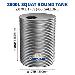 2000L Squat Round Aquaplate Steel Tank (Kingspan)