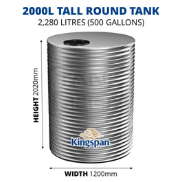 2000L Tall Round Aquaplate Steel Tank (Kingspan)
