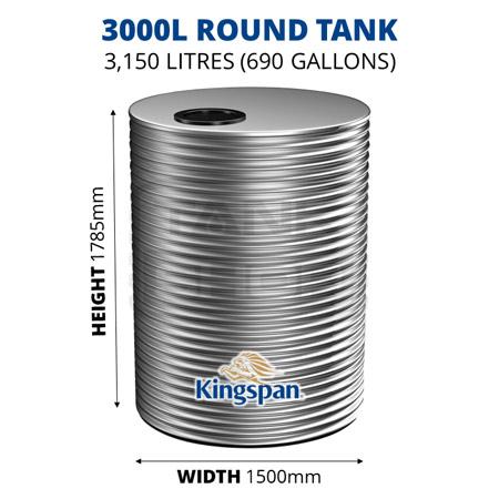 3000L Round Aquaplate Steel Tank (Kingspan)