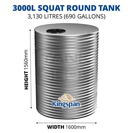 3000L Squat Round Aquaplate Steel Tank (Kingspan)