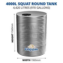 4000L Squat Round Aquaplate Steel Tank (Kingspan)