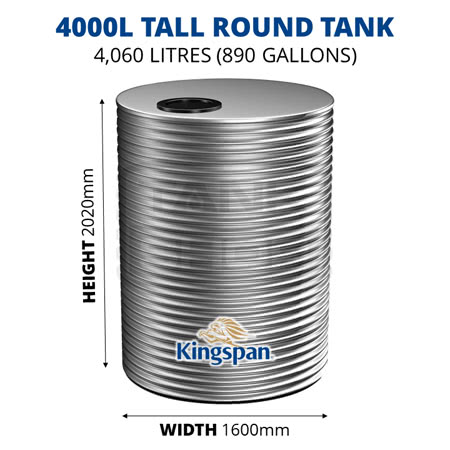 4000L Tall Round Aquaplate Steel Tank (Kingspan)