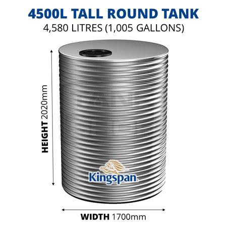 4500L Tall Round Aquaplate Steel Tank (Kingspan)