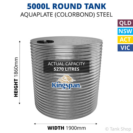 5000L Round Aquaplate Steel Tank (Kingspan)