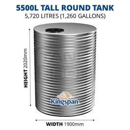 5500L Tall Round Aquaplate Steel Tank (Kingspan)