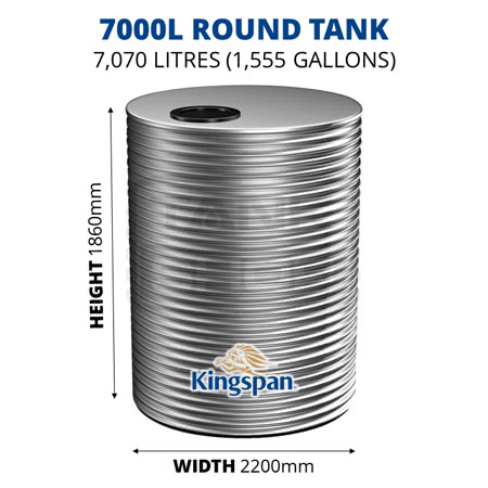 7000L Round Aquaplate Steel Tank (Kingspan)