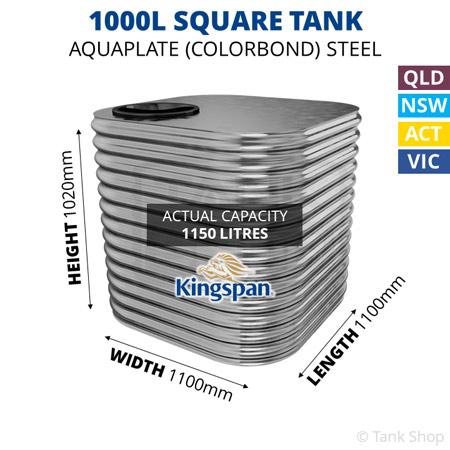 1000L Square Aquaplate Steel Tank