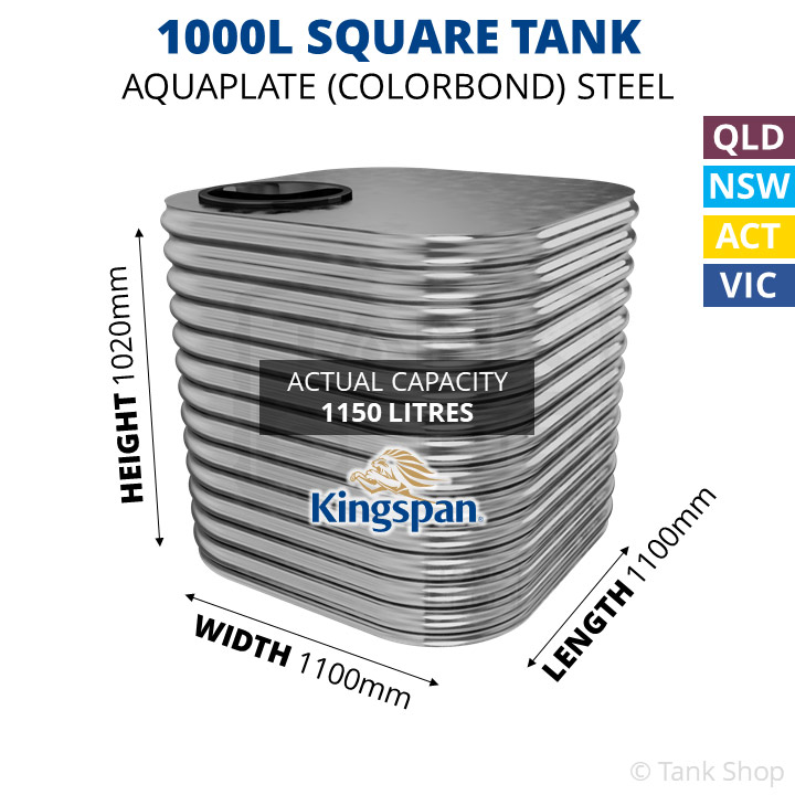 1000 Litre Square Aquaplate Steel Water Tank (Kingspan)