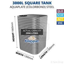 3000L Square Aquaplate Steel Tank