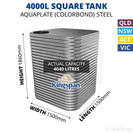 4000L Square Aquaplate Steel Tank