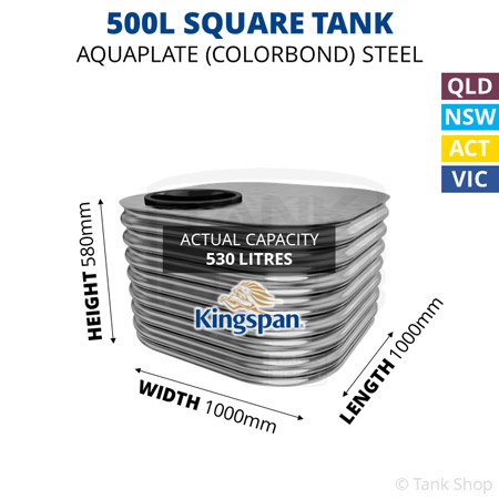 500L Square Aquaplate Steel Tank
