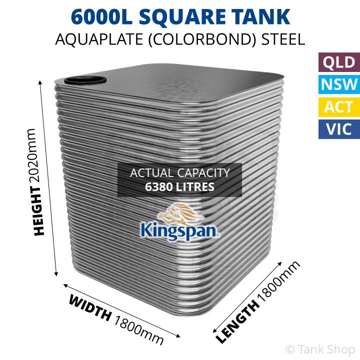 6000 Litre Square Aquaplate Steel Water Tank (Kingspan)