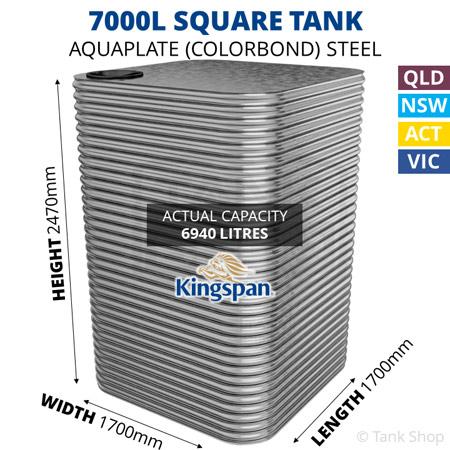 7000L Square Aquaplate Steel Tank