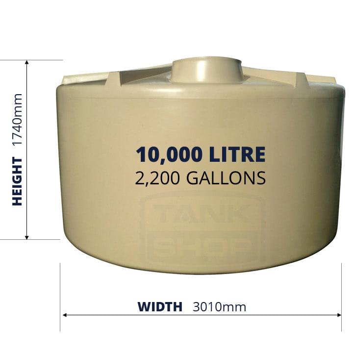 QTank 10000l 2200gal squat water tank dimensions