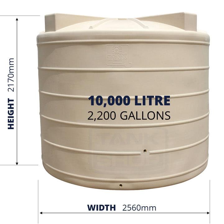 QTank 10000l 2200gal water tank dimensions