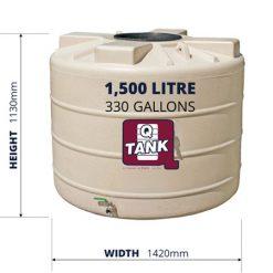 QTank 1500l 330gal water tank dimensions